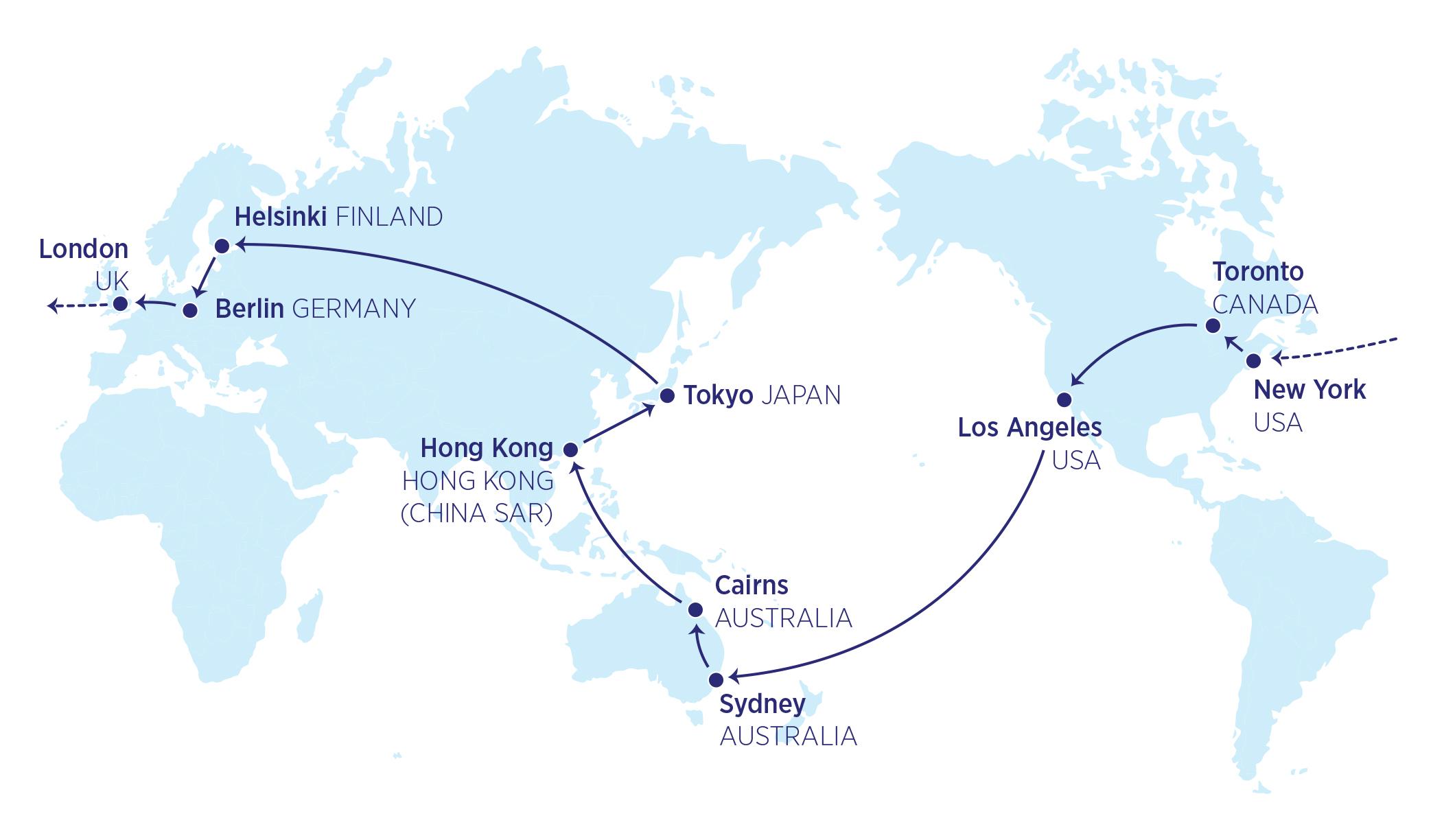 Carte des quatre continents